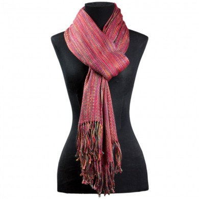 RED SILK AND LINEN SCARF